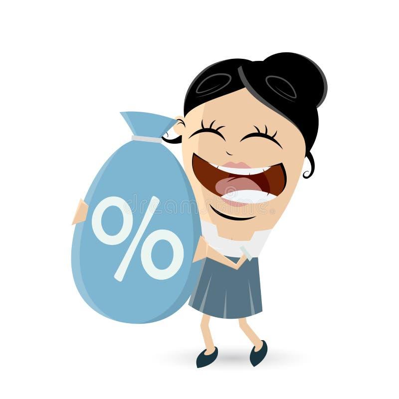 Śmieszny bizneswoman z dużą dyskontową torbą ilustracja wektor