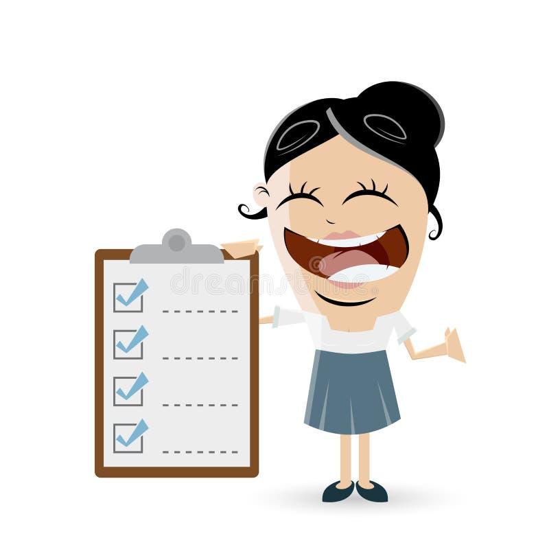 Śmieszny bizneswoman z listą kontrolną royalty ilustracja