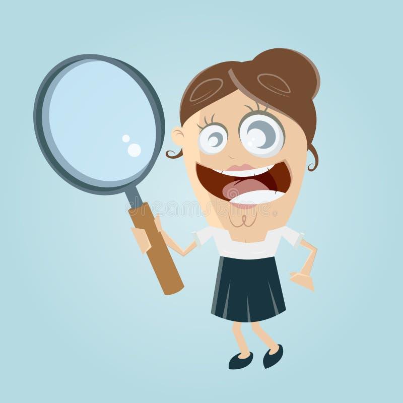 Śmieszny bizneswoman z powiększać - szkło ilustracji