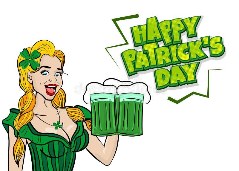 Śmieszny blondynka wystrzału sztuki kobiety St Patrick dzień ilustracji