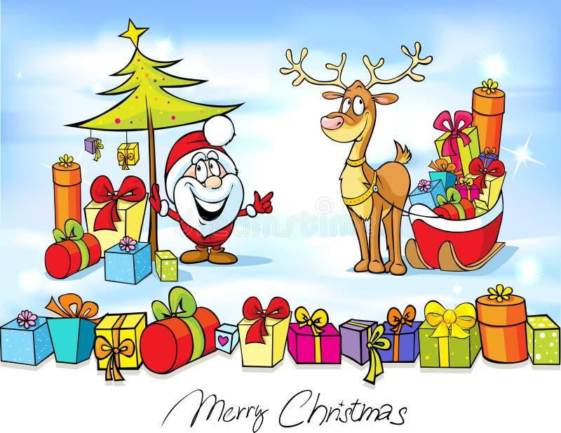 Śmieszny boże narodzenie projekt z Święty Mikołaj royalty ilustracja