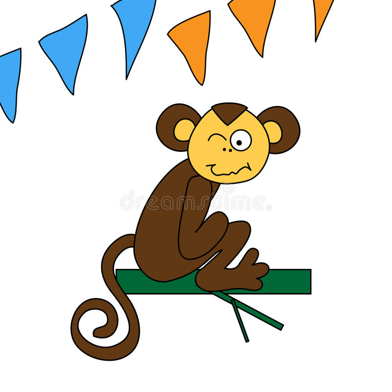 Śmieszny brąz małpy obsiadanie i mrugnięcia ilustracji