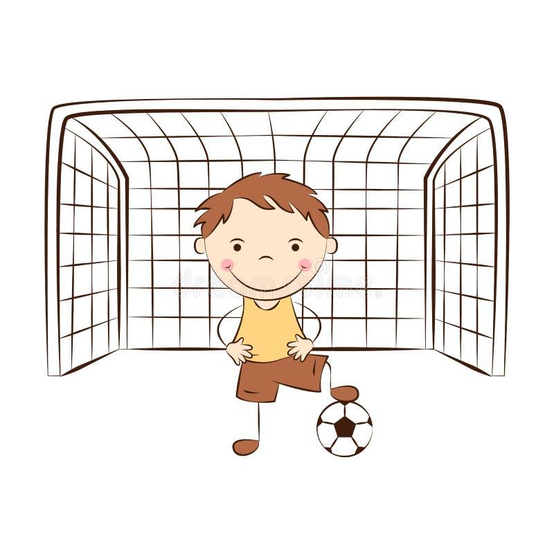 Śmieszny bramkarz z piłką ilustracji