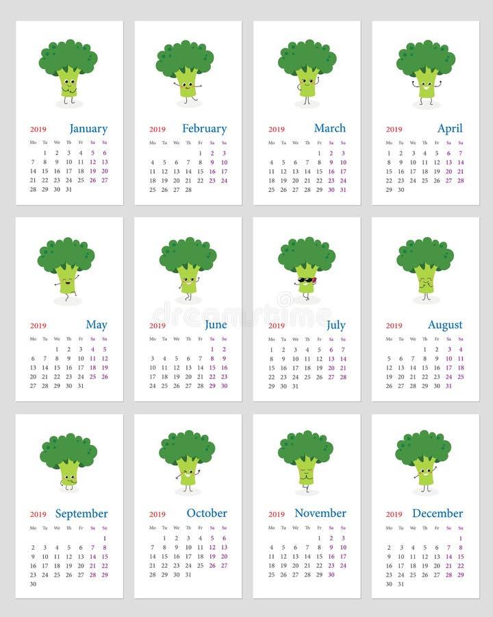 Śmieszny brokułu kalendarz 2019 royalty ilustracja