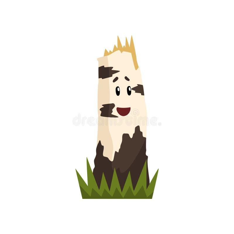 Śmieszny brzoza drzewnego fiszorka charakter z śmiesznej twarzy wektorową ilustracją na białym tle royalty ilustracja