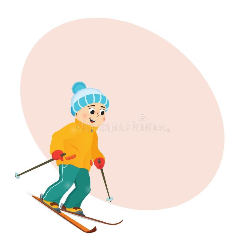 Śmieszny chłopiec narciarstwo zjazdowy z miejscem dla teksta ilustracja wektor