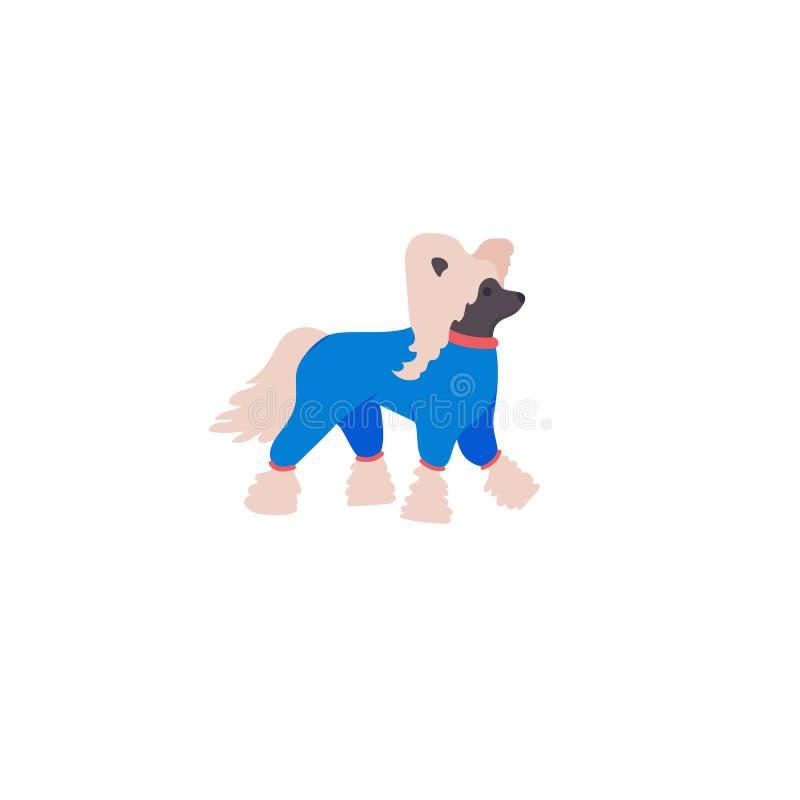 Śmieszny chiński czubaty Śliczny rodzina pies w kombinezonach ilustracji