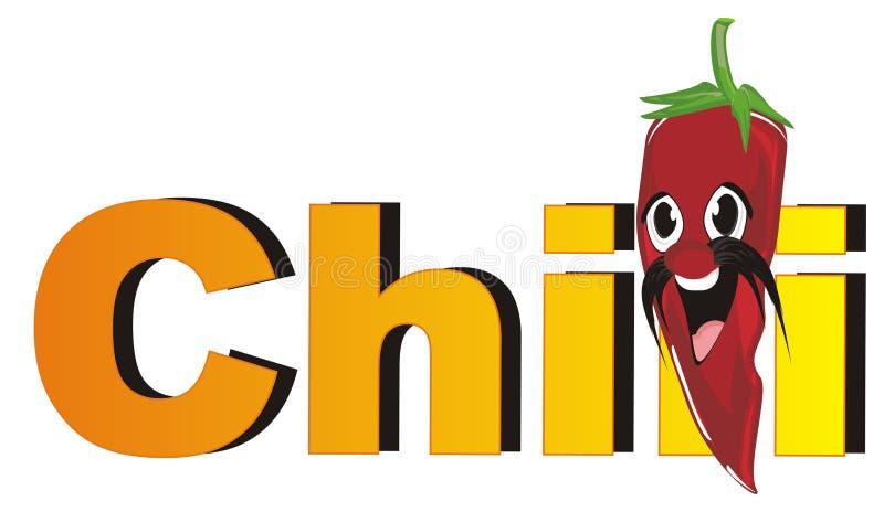 Śmieszny chili pieprzu zerknięcie up od słowa royalty ilustracja