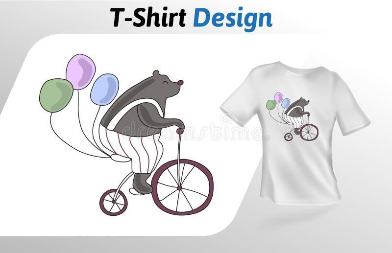 Śmieszny cyrka niedźwiedź jedzie bicykl, koszulka druk Egzamin próbny w górę koszulka projekta szablonu Wektorowy szablon, odizol ilustracja wektor