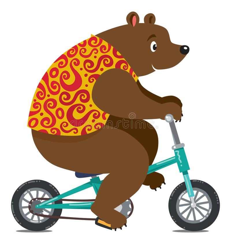 Śmieszny cyrka niedźwiedź na bicyklu ilustracja wektor
