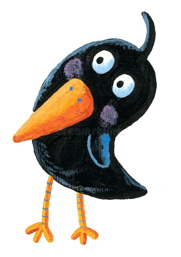 Śmieszny czarny ptak royalty ilustracja