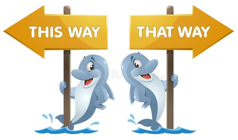 Śmieszny delfin blisko kierunkowskazu Ten sposób i ten sposób ilustracja wektor