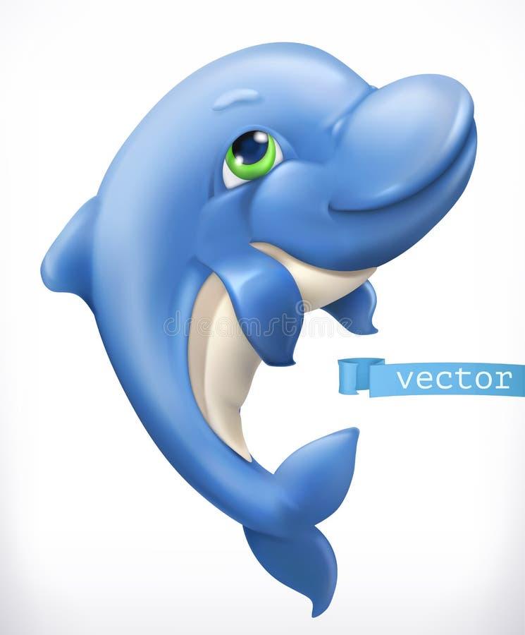 Śmieszny delfin 3d ikona wektor royalty ilustracja