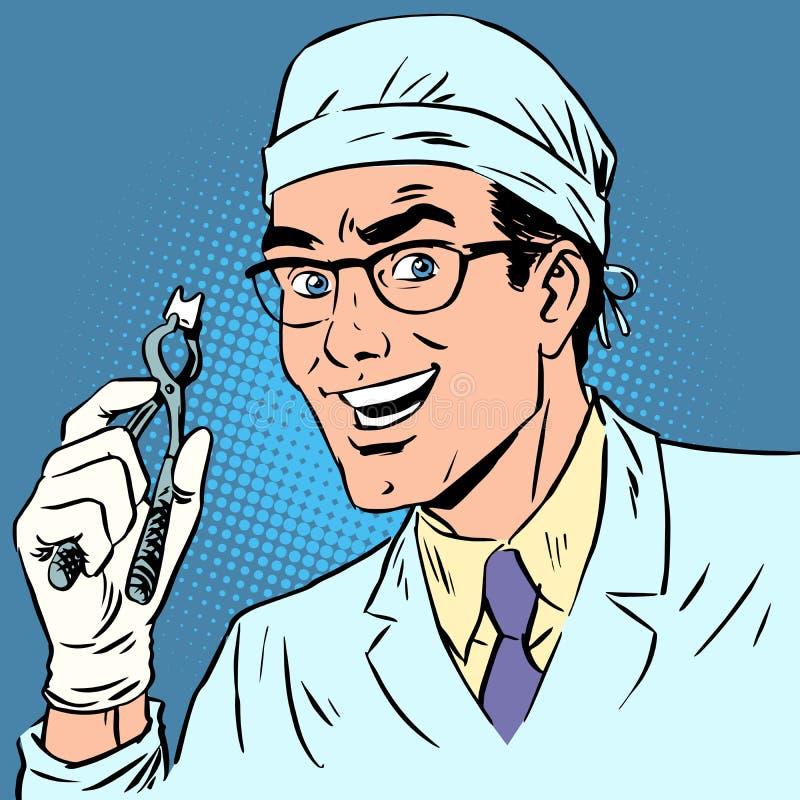 Śmieszny dentysta ciągnął out zębu wystrzału sztuki retro komiczkę ilustracji