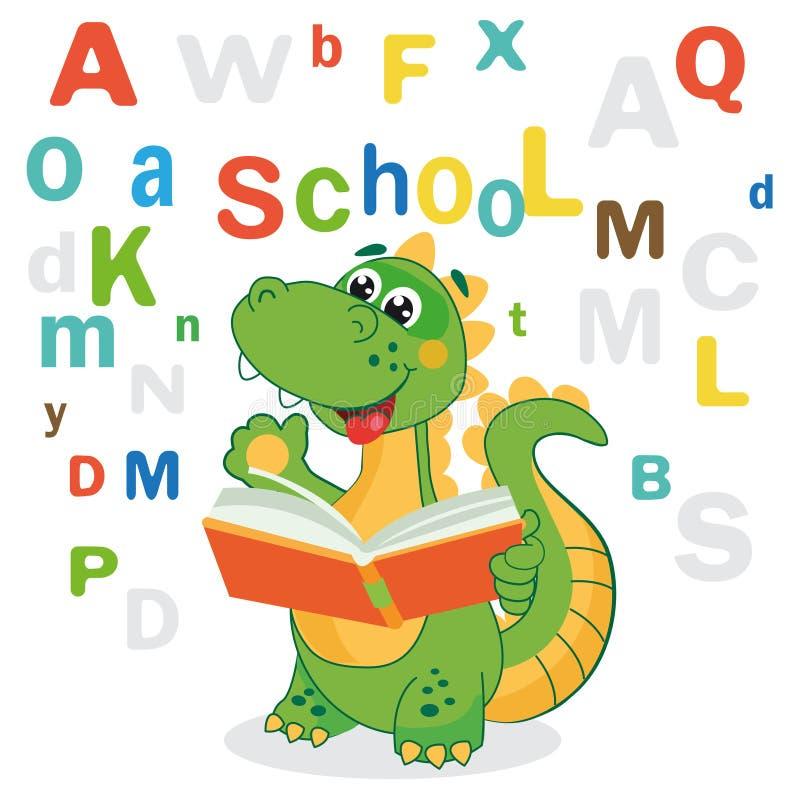 Śmieszny dinosaur Uczy się Czytać książkę I Barwiących listy Na Białym tle ilustracja wektor
