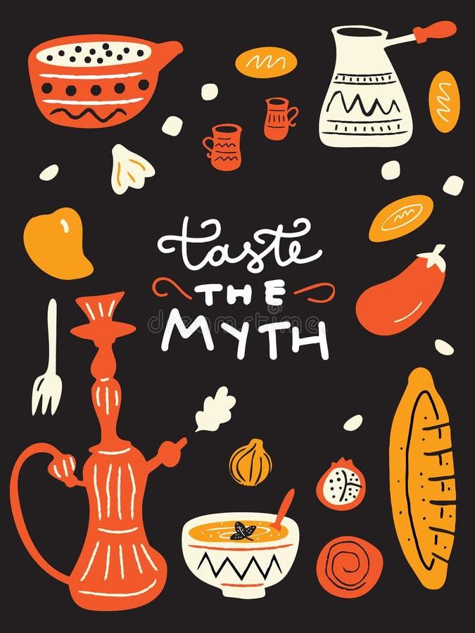 Śmieszny doodle menu szablon z ilustracją tradycyjny bliskowschodni jedzenie i ahnd pisać zwrota smak mit wektor ilustracji