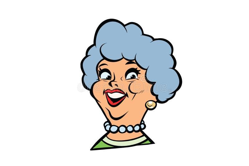 Śmieszny dorosłej kobiety babci modny portret royalty ilustracja