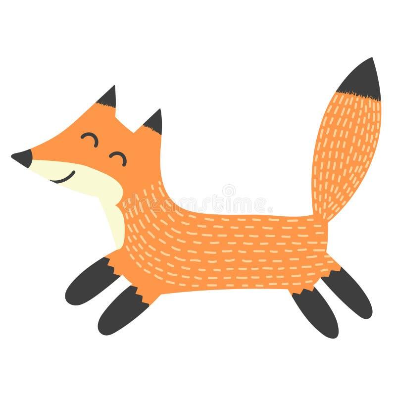 Śmieszny działający lis Odosobniony element ilustracja wektor