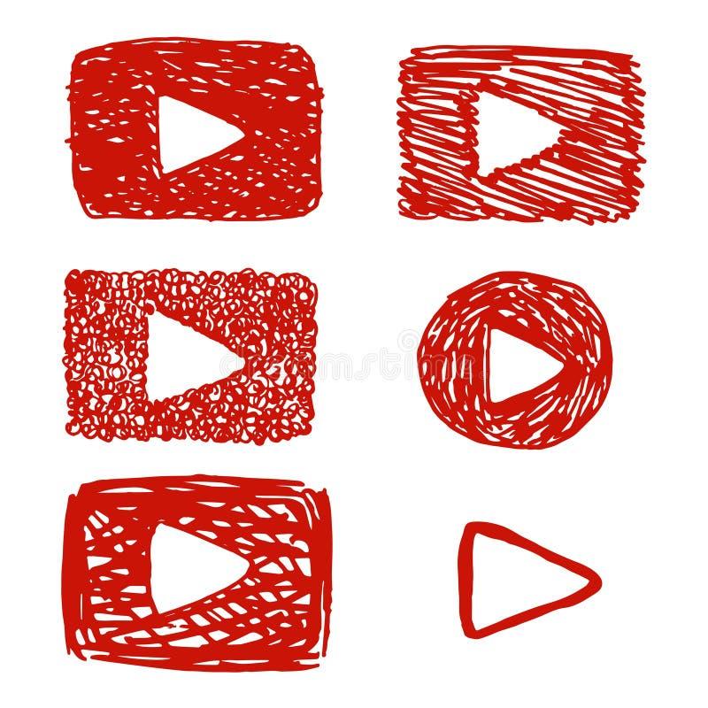 Śmieszny dziecięcy wideo guzik, czerwony sztuka guzik jak Youtube lub videoplayer, wektorowa ikona w pociągany ręcznie stylu ilustracja wektor