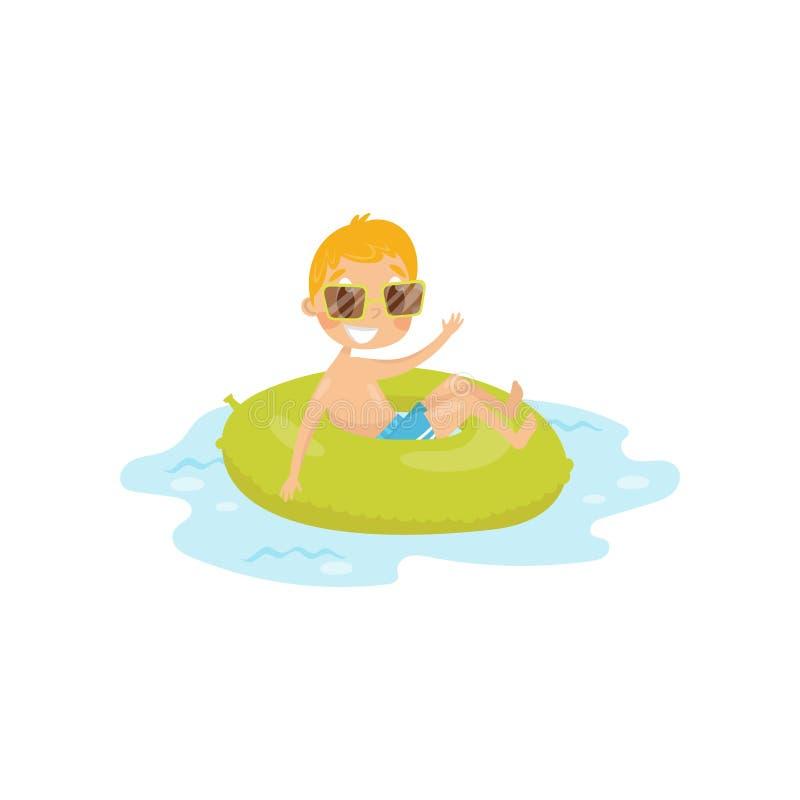 Śmieszny dzieciaka dopłynięcie przy morzem na zielonym nadmuchiwanym pierścionku Chłopiec w pływanie okularach przeciwsłonecznych ilustracja wektor