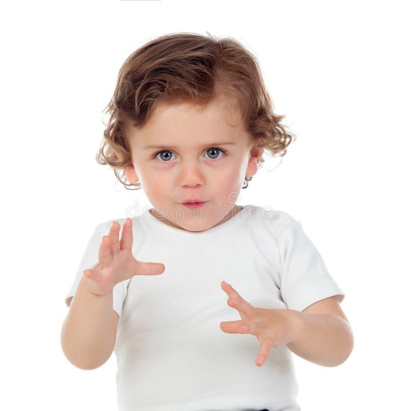 Śmieszny dziecko daje strachowi obrazy royalty free