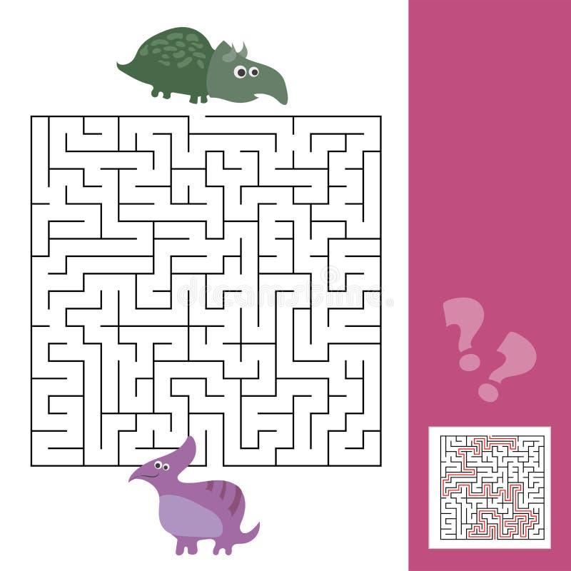 śmieszny dziecko labirynt Pomaga Dino znajdować przyjaciela Żartuje gry z odpowiedzią royalty ilustracja