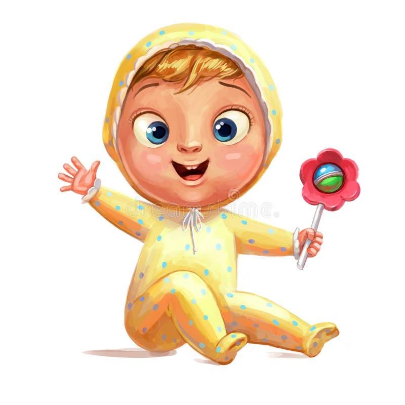 Śmieszny dziecko z brzękiem ilustracja wektor