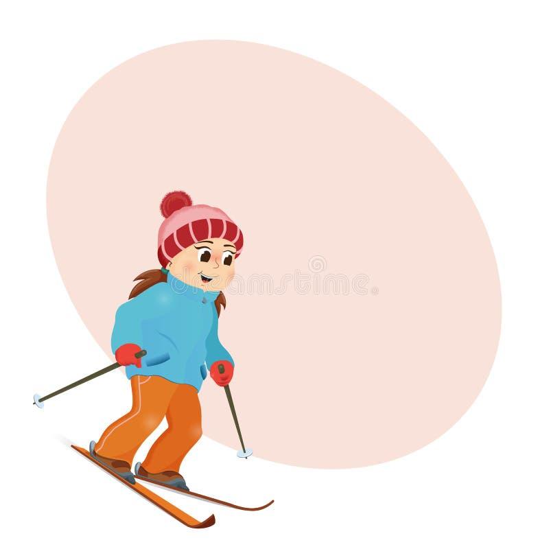 Śmieszny dziewczyny narciarstwo zjazdowy z miejscem dla teksta ilustracji