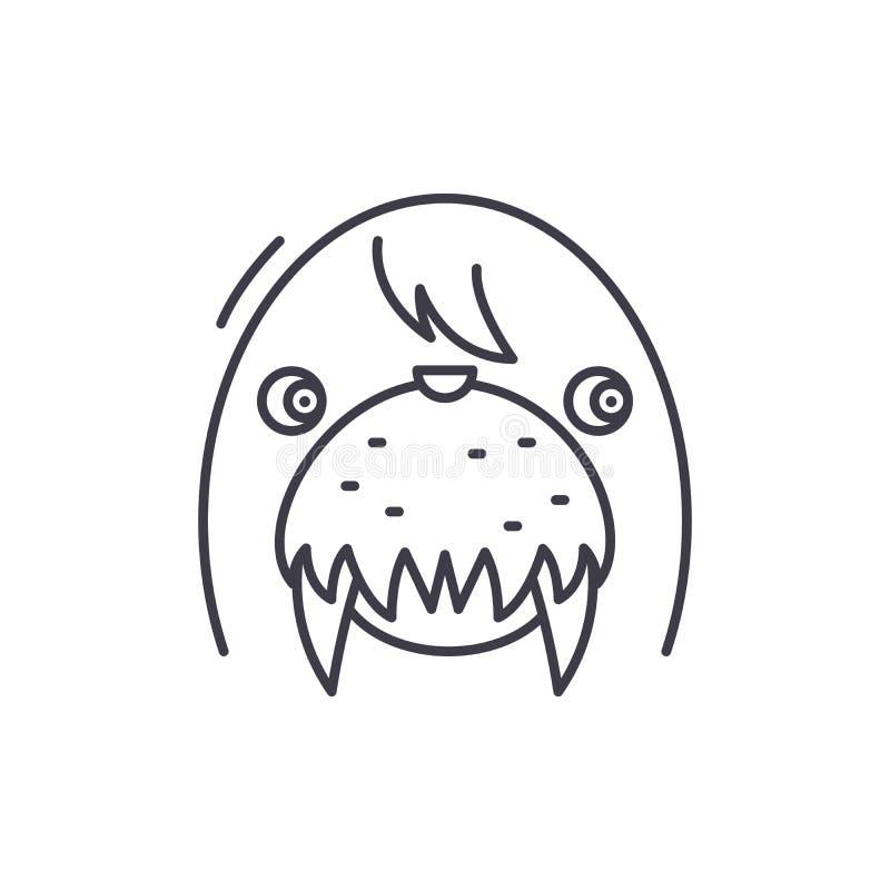 Śmieszny foki linii ikony pojęcie Śmiesznej foki wektorowa liniowa ilustracja, symbol, znak ilustracji