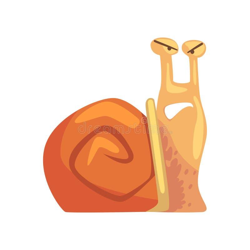 Śmieszny gniewny ślimaczek, śliczna komiczna mollusk charakteru kreskówki wektoru ilustracja royalty ilustracja