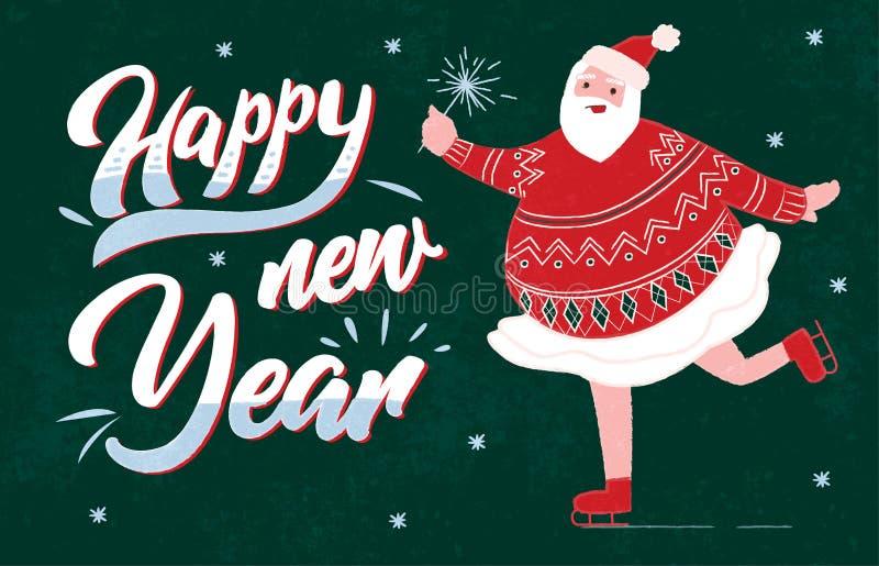 Śmieszny gruby Święty Mikołaj w spódnicowym tanu i bawić się jazdy na łyżwach płaską wektorową ilustrację royalty ilustracja