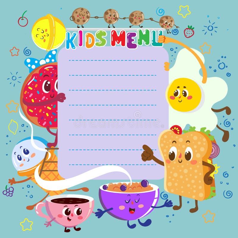 Śmieszny i śliczny kolorowy dzieciaka menu ilustracja wektor