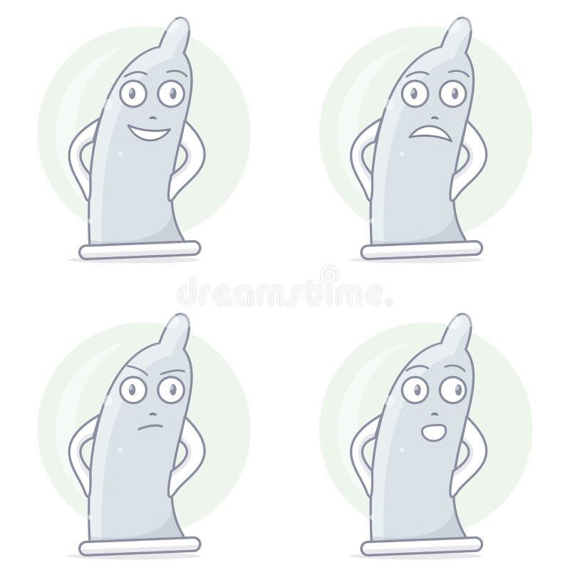 Śmieszny i komiczny kondoma charakter royalty ilustracja