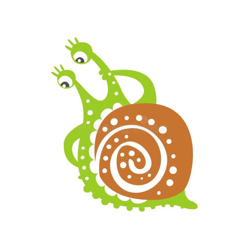 Śmieszny intrygujący ślimaczka charakter, śliczna zielona ręka rysująca mollusk wektorowa ilustracja ilustracja wektor