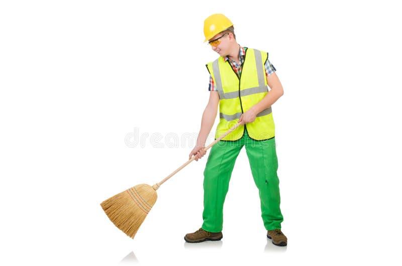Śmieszny janitor z miotłą obraz royalty free