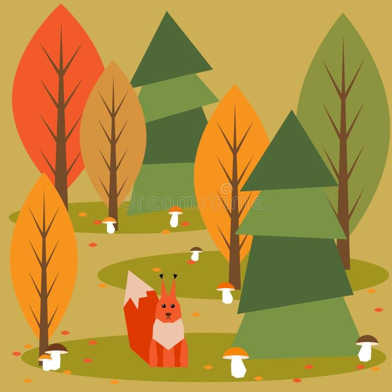 Śmieszny jaskrawy barwiony kreskówki jesieni las z zwierzętami ilustracji