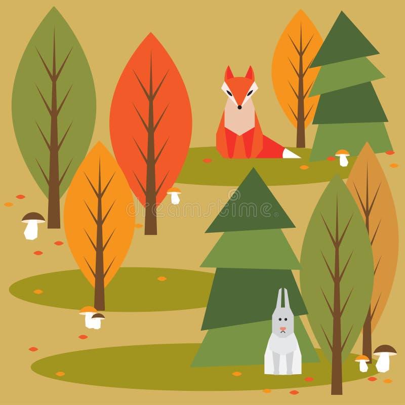 Śmieszny jaskrawy barwiony kreskówki jesieni las z zwierzętami ilustracja wektor