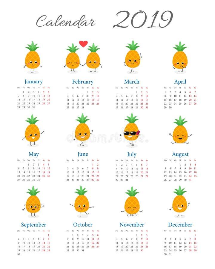 Śmieszny kalendarz 2019 z ananasami ilustracja wektor