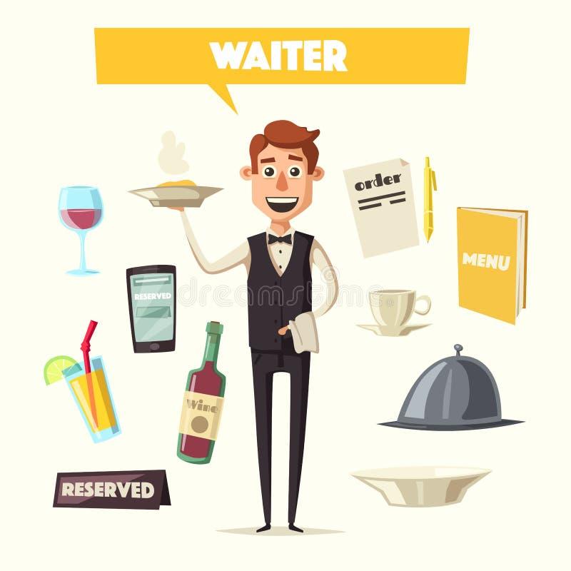 Śmieszny kelner, śliczny charakter chłopiec kreskówka zawodzący ilustracyjny mały wektor ilustracja wektor