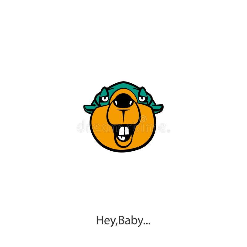 Śmieszny kierowniczy dziki bobra kolor royalty ilustracja