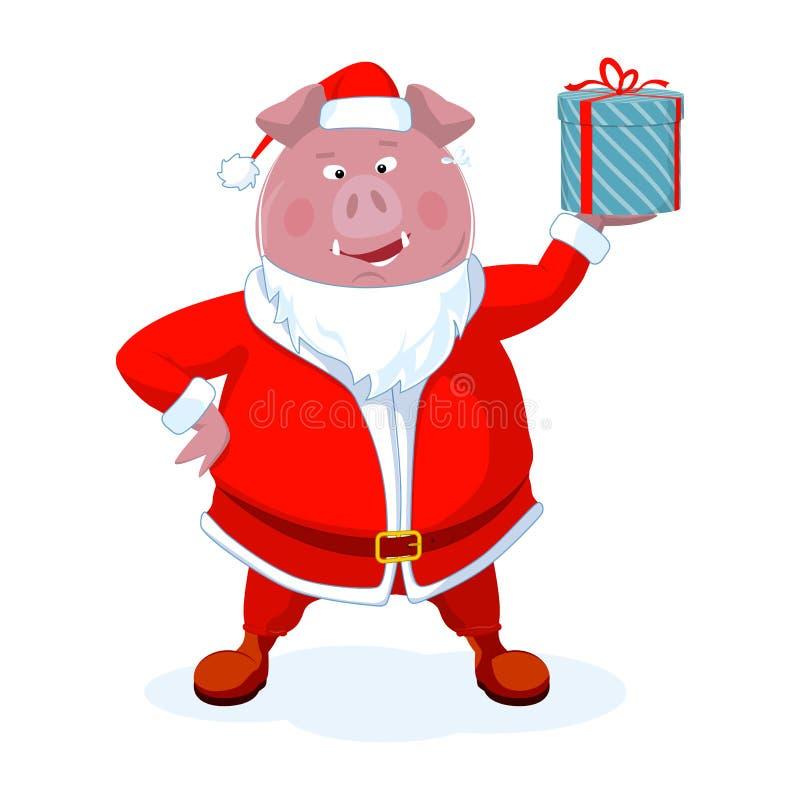Śmieszny knur ubierał jako Santa z prezentem Boże Narodzenie wektor ilustracji