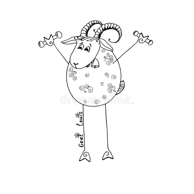 Śmieszny koźli ludwik iść wewnątrz dla sportów z dumbbells ilustracji