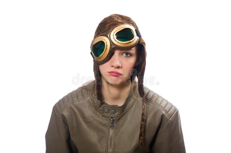 Śmieszny kobieta pilot odizolowywający na bielu obrazy stock