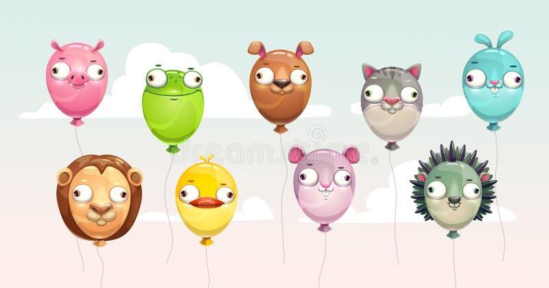 Śmieszny kolorowy latanie szybko się zwiększać z szalonymi zwierzęcymi twarzami royalty ilustracja