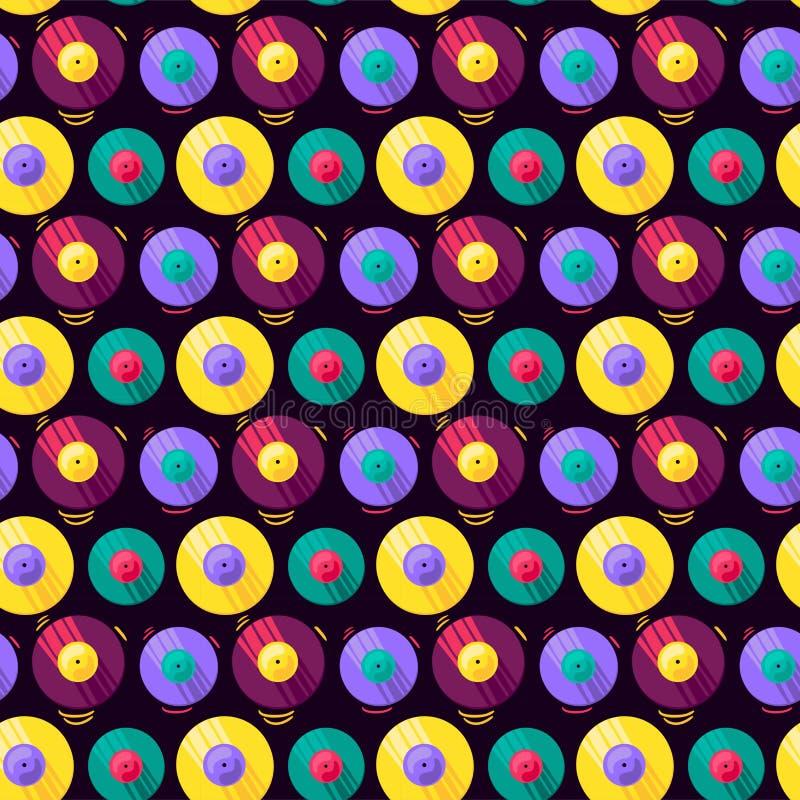 Śmieszny Kolorowy Muzykalny Winylowego rejestru wektoru wzór royalty ilustracja