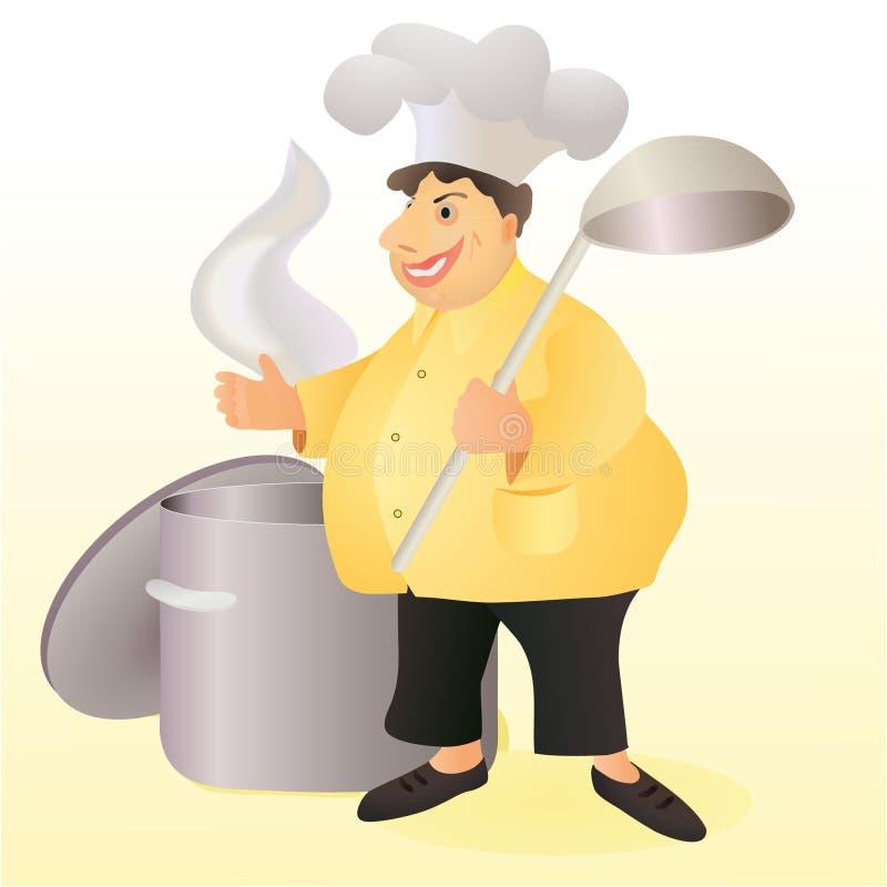 Śmieszny korpulentny uśmiechnięty kucharz z dużą łyżką i gulasz niecką ilustracja wektor