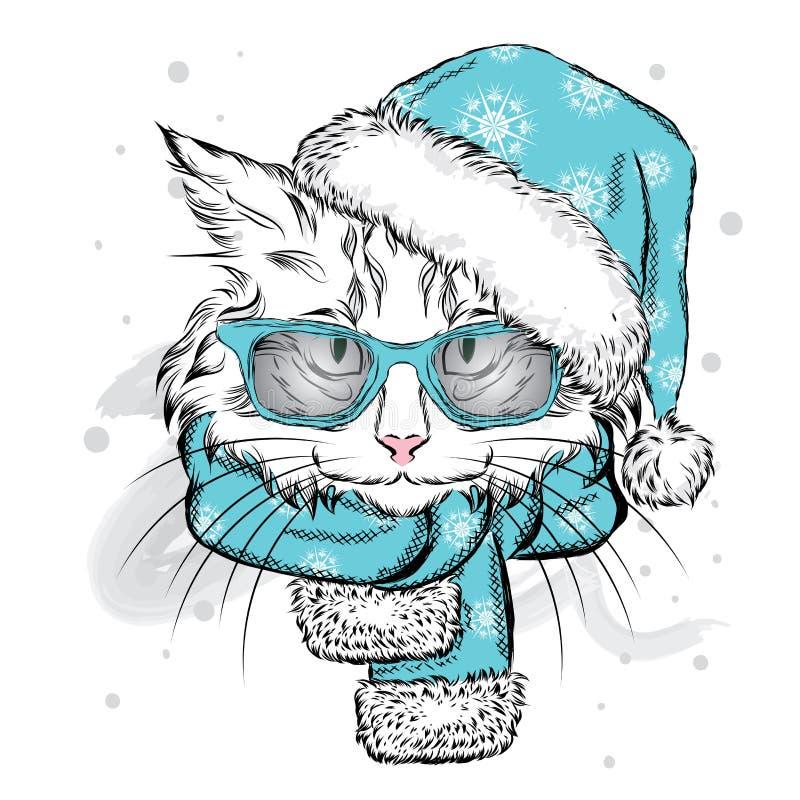 Śmieszny kot w Bożenarodzeniowym szaliku i kapeluszu ilustracji