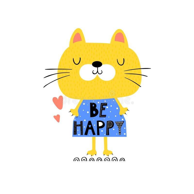 Śmieszny kot w sukni dla dzieci ilustracja wektor