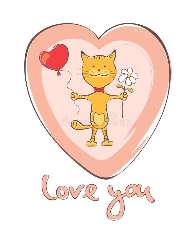 Śmieszny kot z balonem i kwiatem ilustracji