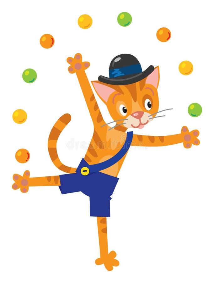 Śmieszny kota juggler ilustracji